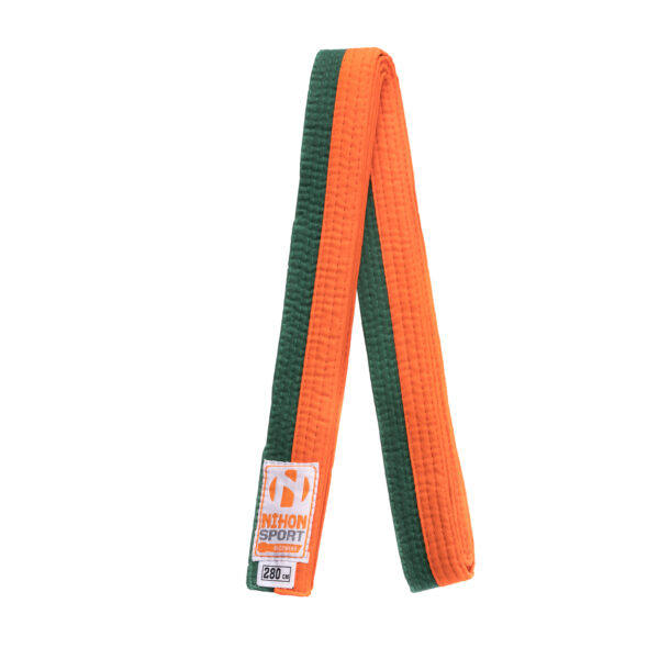 Tweekleurige judo- en karatebanden Nihon | oranje-groen |260